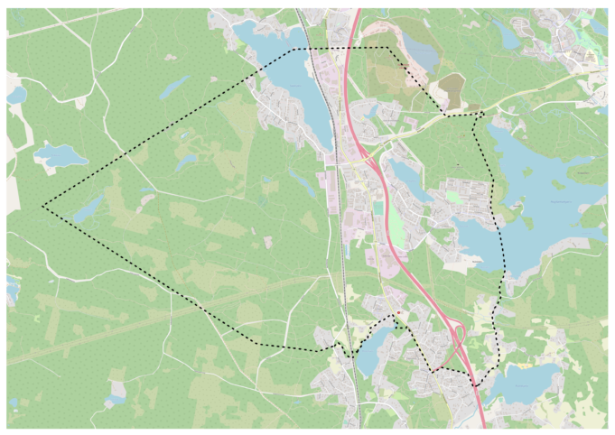 Kartassa näkyy kaava-alueen sijainti